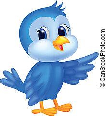 kék, csinos, madár, karikatúra