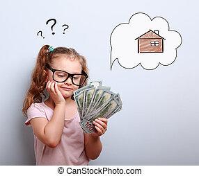 kék, csinos, szemüveg, háttér, gondolkodó, pénz, kérdez, ábra, aláír, látszó, hogyan, its., felül, épület, leány, buborék, költ, kölyök