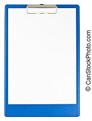 kék, csipeszes írótábla, és, dolgozat