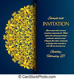 kék, díszítő, arany, kézimunka, meghívás, kártya