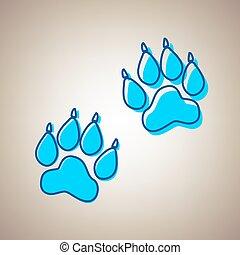 kék, defected, állat, cégtábla., ég, háttér., sín, nyersgyapjúszínű bezs, vector., körvonal, ikon
