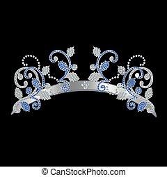 kék, dekoráció, ezüst, csiszol