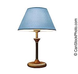 kék, dekoratív, lamp., lampshade., lámpa, éjjeliszekrény