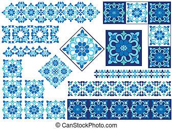 kék, dekoratív terv, elem