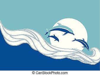 kék, delfinek, ugrás, tenger, lenget