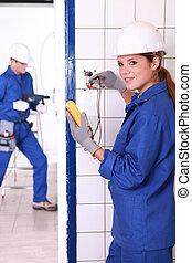 kék, dolgozó, ház, szakképzett, két, szerkesztés, alatt, kereskedő, jumpsuits