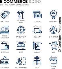 kék, e-commerce, egyenes, ikonok
