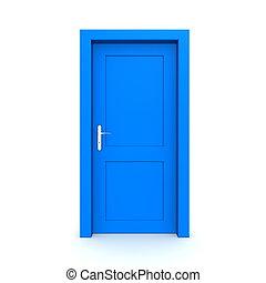 kék, egyedülálló, ajtó, csukott