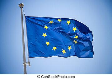 kék, egyesítés, ég, lobogó, háttér, európai