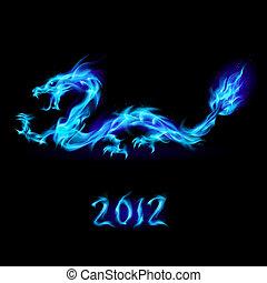 kék, elbocsát, sárkány