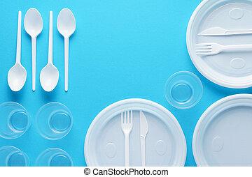 kék, eldobható, műanyag, háttér., edények és evőeszközök, fehér