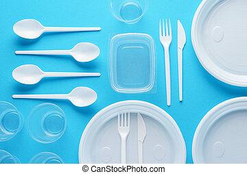 kék, eldobható, műanyag, háttér., edények és evőeszközök, különféle, fehér