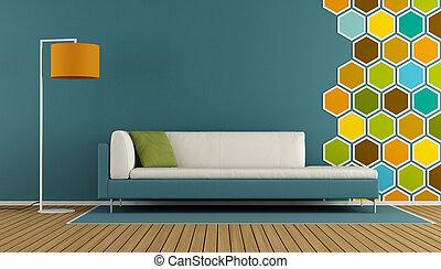 kék, eleven, hatszög, szoba, dekoráció