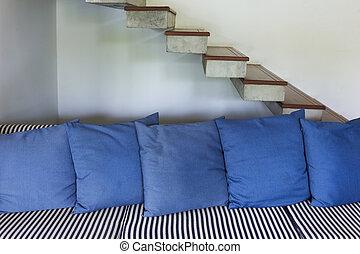 kék, eleven, mód, szoba, pamlag, modern, belső, berendezés