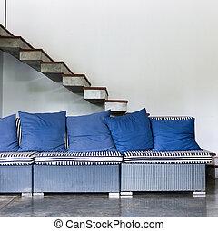 kék, eleven, mód, szoba, pamlag, modern, belső
