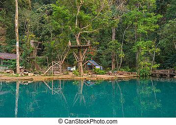 kék, elfoglaltságok, vieng, vang, víz, 2, lagúna, laosz
