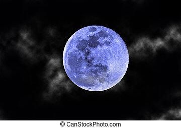 kék, elhomályosul, hold