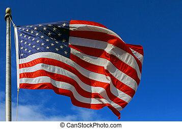 kék, elhomályosul, könnyű, ég, amerikai, ellen, indítvány, lobogó, elhomályosít