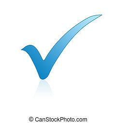 kék, ellenőriz jelölés