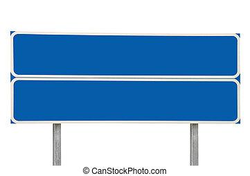 kék, elszigetelt, útkereszteződés, két, nyílvesszö cégtábla, út