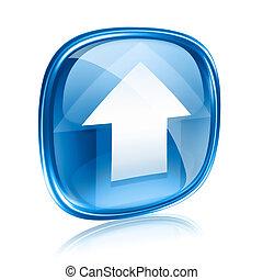 kék, elszigetelt, feltölt, háttér., pohár, fehér, ikon