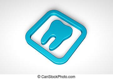 kék, elszigetelt, háttér, fog, fehér, ikon