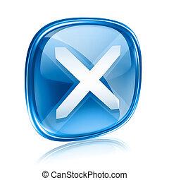 kék, elszigetelt, háttér., pohár, becsuk, fehér, ikon