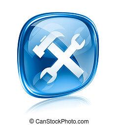 kék, elszigetelt, háttér., pohár, fehér, eszközök, ikon