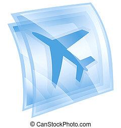 kék, elszigetelt, háttér., repülőgép, fehér, ikon