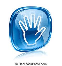 kék, elszigetelt, kéz, háttér., pohár, fehér, ikon