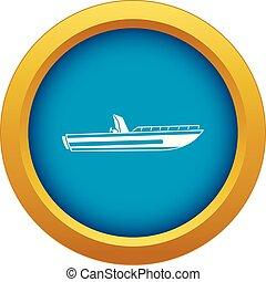 kék, elszigetelt, vektor, motor, halad hajózik, ikon