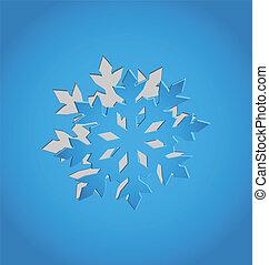 kék, elvág papír, hópehely, karácsony, ki