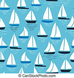 kék, elvont, pattern., seamless, háttér., tenger, vitorlások