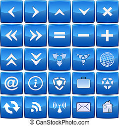 kék, elvont, vektor, állhatatos, ikon