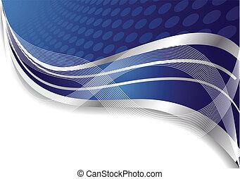 kék, elvont, vektor, karika, háttér