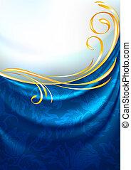 kék, eps10, szerkezet, díszítés, háttér, függöny