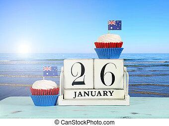 kék, erdő, ausztrália, boldog, január, nap, 26, háttér., téma, cupcakes, naptár, szüret, ausztrál, piros, tengerpart, fehér, kilátás