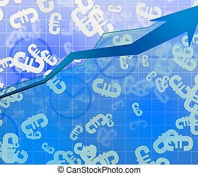 kék, euro, gazdasági, háttér