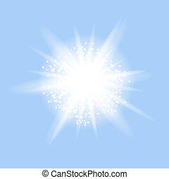 kék, explosion., csillag, starburst, szikrázó, izzó, háttér, fény, pattog