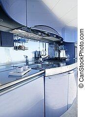 kék, ezüst, konyha, modern építészet, dekoráció