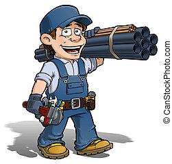 kék, ezermester, vízvezeték szerelő, -
