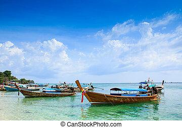 kék, fából való, ég, tenger, csónakázik, tengerpart