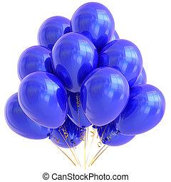 kék, fél, léggömb, boldog születésnapot, dekoráció, cián, sima