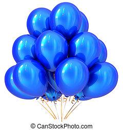 kék, fél, léggömb, boldog születésnapot, farsang, dekoráció, cián