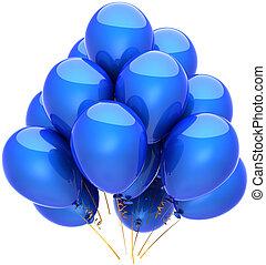 kék, fél, születésnap, léggömb, fényes