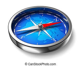 kék, fém, iránytű