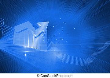 kék, fényes, háttér, statisztikai