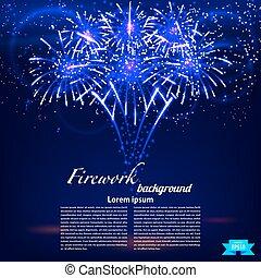 kék, fényes, tűzijáték, színes