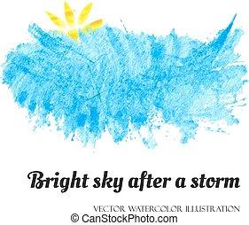 kék, fényes, után, ég, megrohamoz