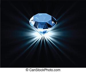 kék, fényes, vektor, diamond.